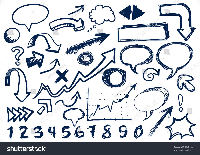 手绘的箭头,对话框,数字和其他涂鸦——jpeg版本-背景