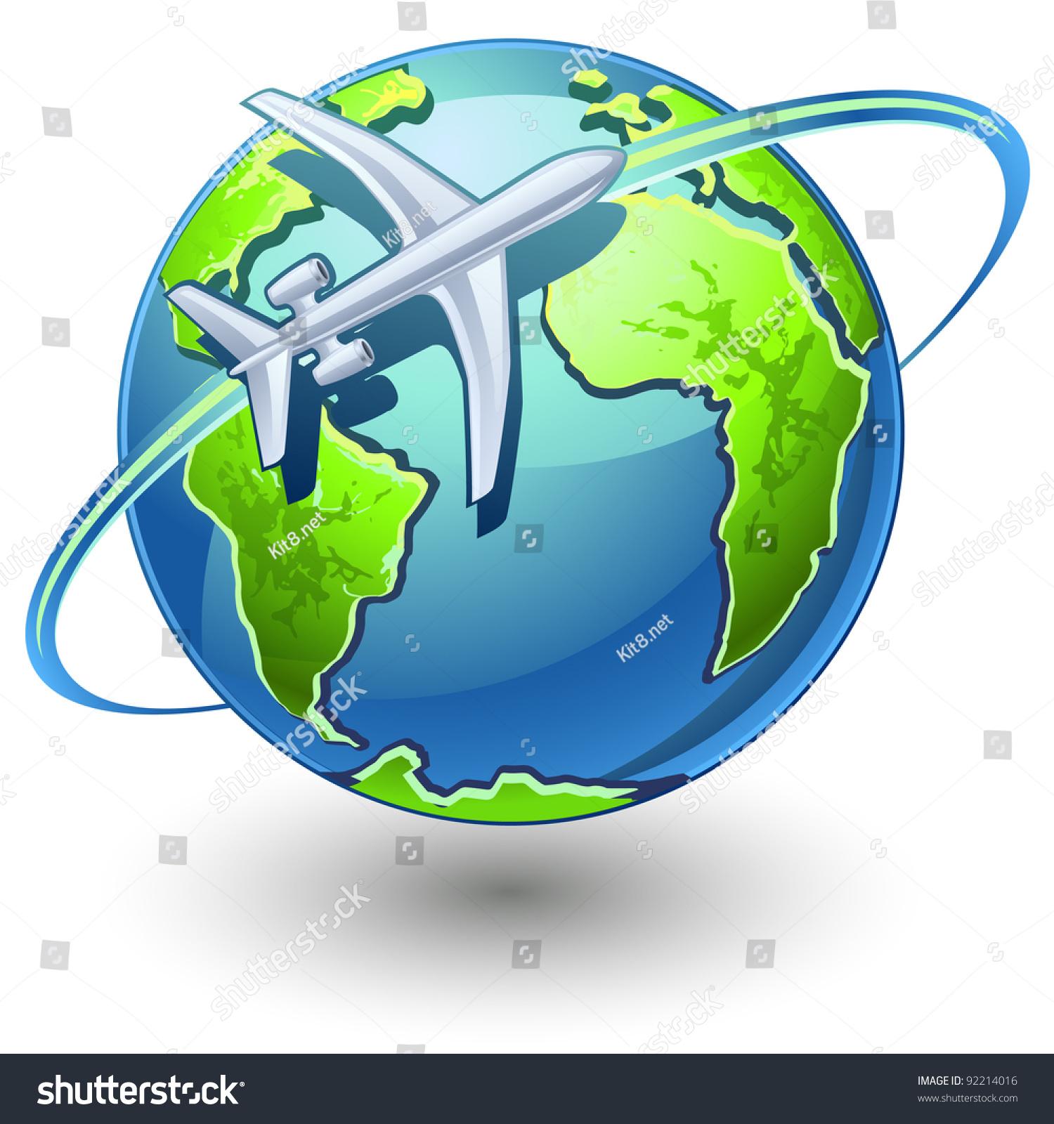 飞机飞行的矢量插图地球在白色背景上-交通运输,物体