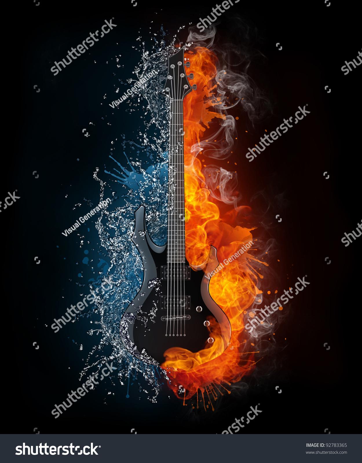 电吉他着火和水隔离在黑色背景.计算机图形学