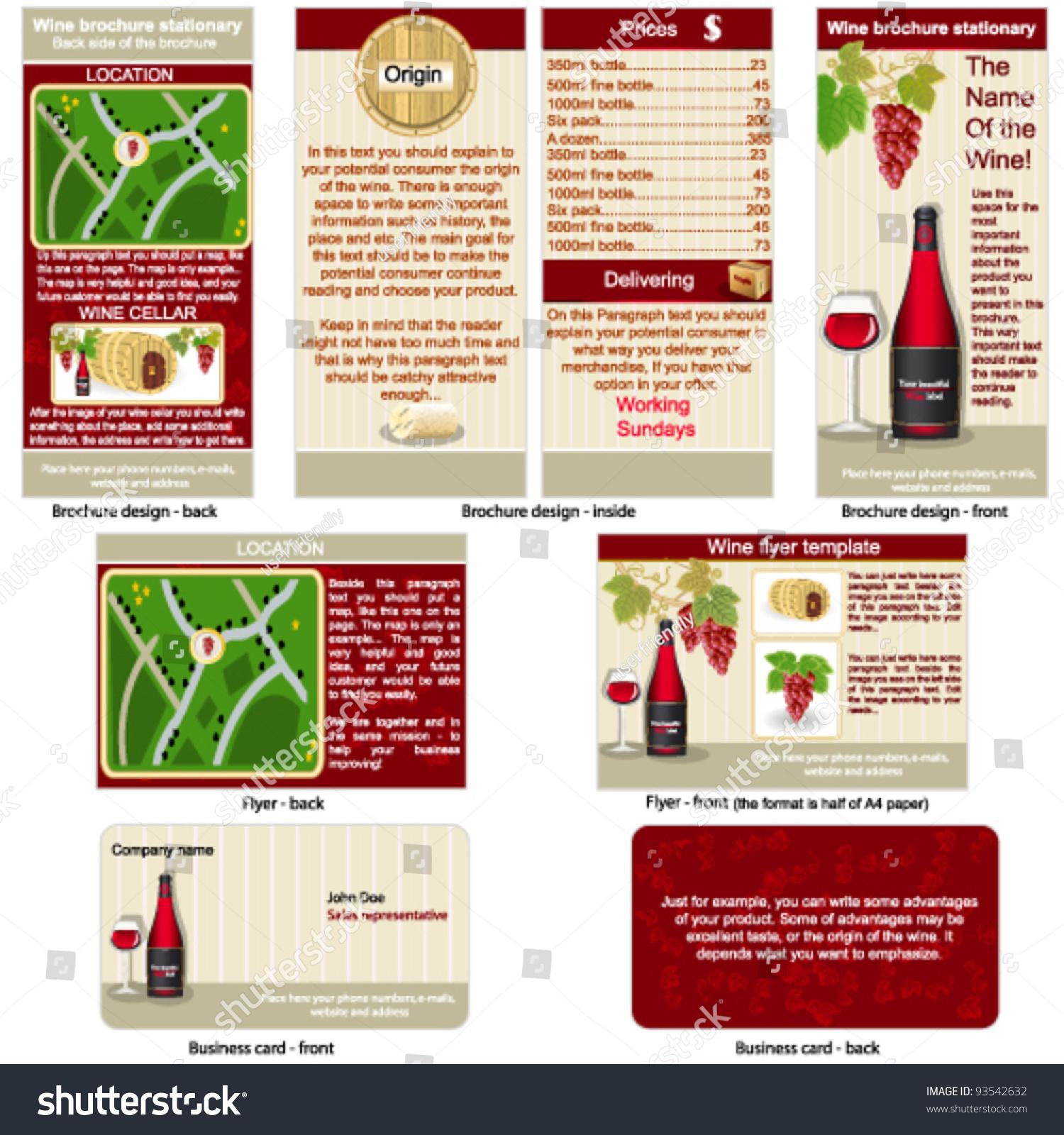 红酒静止,宣传册设计,传单设计和名片设计在一个包和完全可编辑的.