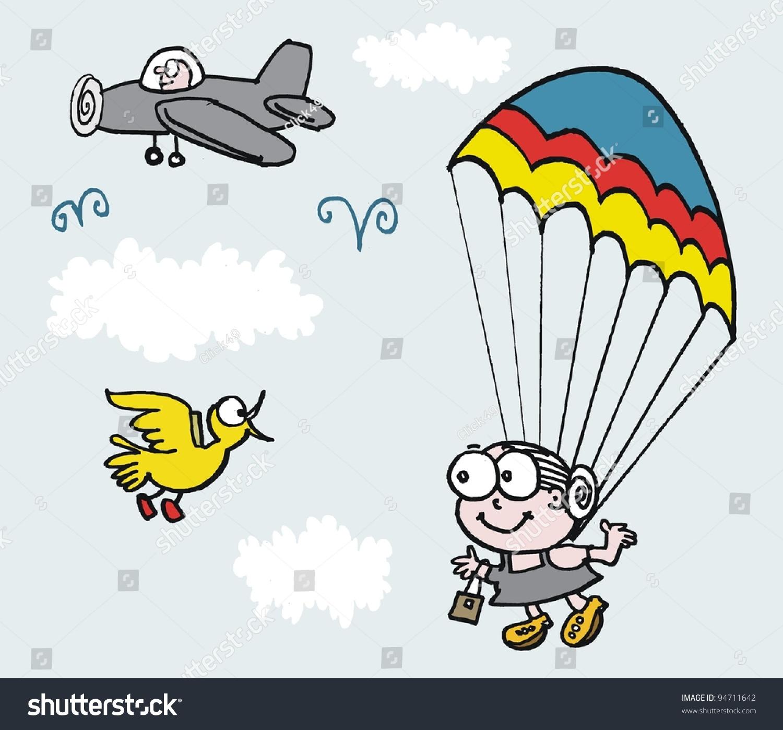 向量的卡通祖母与降落伞跳下飞机-运动/娱乐活动