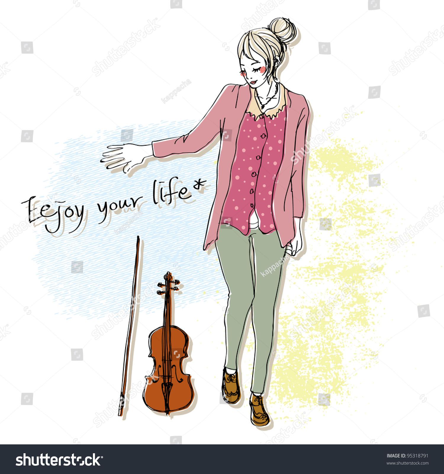 可爱的女孩素描与小提琴背景-艺术