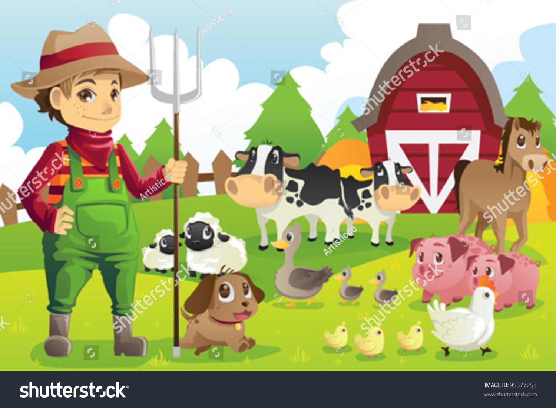 一个农民在农场与一群农场动物的矢量图-动物/野生