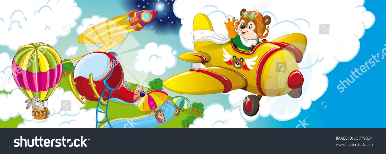 天空:飞行动物,降落伞和云层-艺术